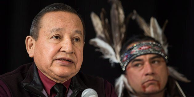 Grand Chief Stewart Phillip, left, president of the Union of B.C. Indian Chiefs, speaks as Will George,...