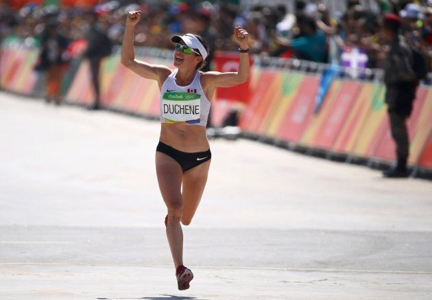 Krista Duchene celebrates at the final of the women's marathon at the 2016 Rio