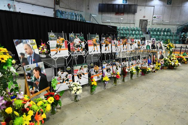 Photos of people involved in a fatal bus crash are seen before a vigil at the Elgar Petersen Arena, home of the Humboldt Broncos, in Humboldt, Saskatchewan, on April 8, 2018.