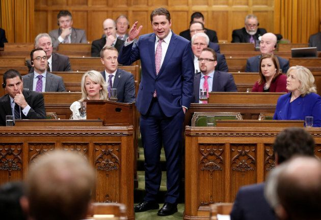 Conservative leader Andrew Scheer speaks during Question Period in the House of Commons on Parliament...