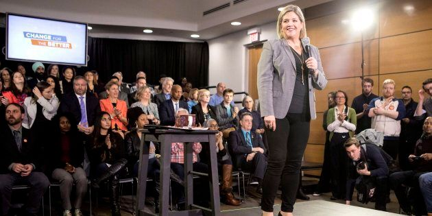 Ontario NDP Leader Andrea Horwath addresses supporters at a rally in Toronto on April 16,