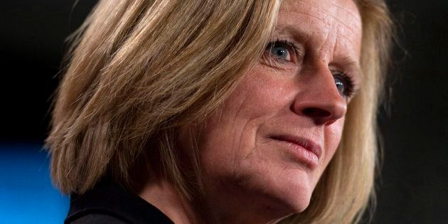 Alberta Premier Rachel Notley speaks during a press conference on Parliament Hill in Ottawa on April...