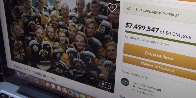 A GoFundMe page for the Humboldt Broncos is seen on a computer near Tisdale, Sask. on April, 10, 2018....