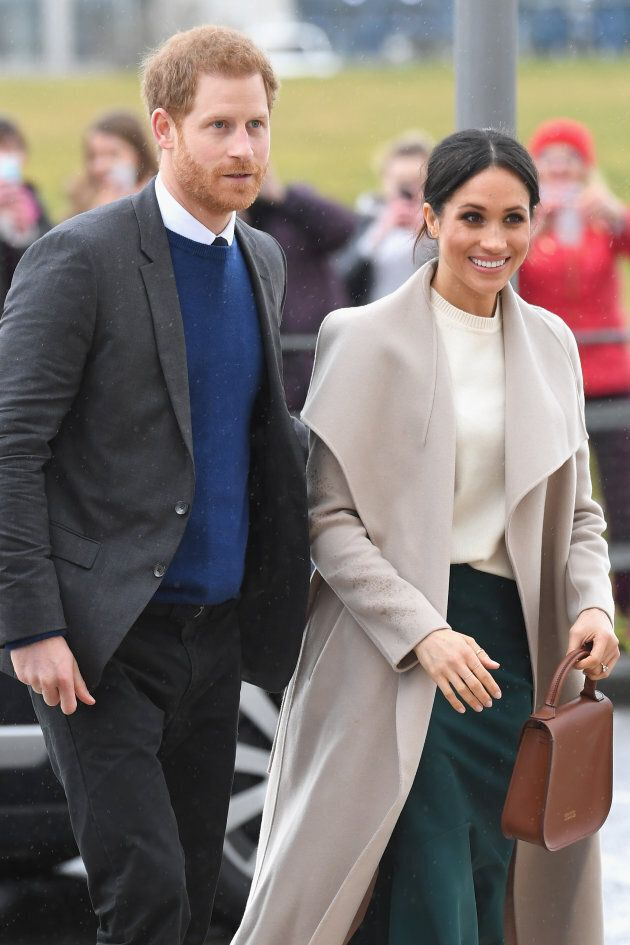 Prince Harry and Meghan Markle arrive at the Titanic Belfast on March 23, 2018 in Belfast, Nothern Ireland.