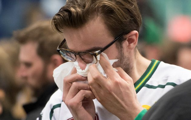 A vigil on April 8 at the Elgar Petersen Arena, in Humboldt, Saskatchewan, to honour the victims of a...
