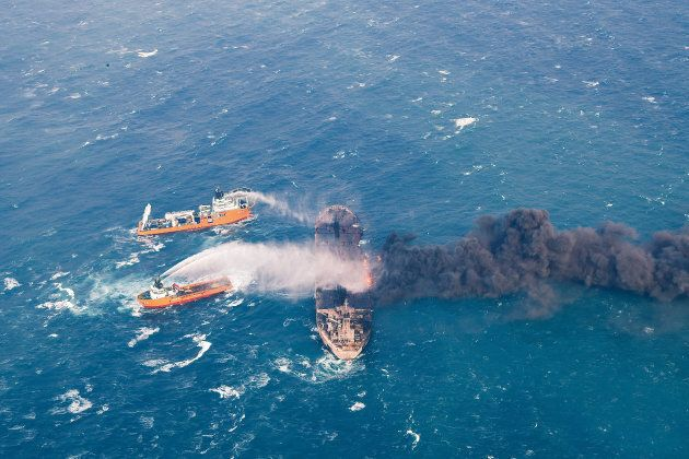 Rescue ships work to extinguish the fire on the Sanchi, a tanker carrying Iranian oil which went ablaze after a collision with a Chinese freight ship in the East China Sea on Jan. 10, 2018.