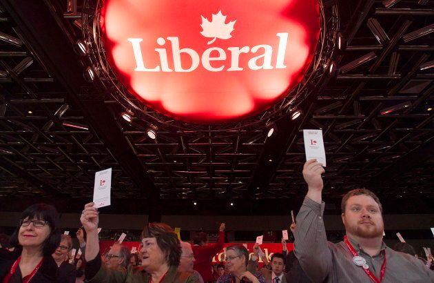 Federal Liberal party delegates vote on a resolution during the party's biennial convention in Montreal...