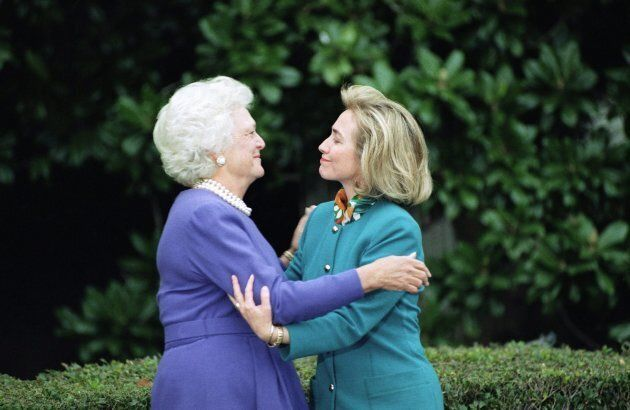 In this 1992 file photo, first lady Barbara Bush greets first lady-to-be Hillary Clinton upon her arrival...