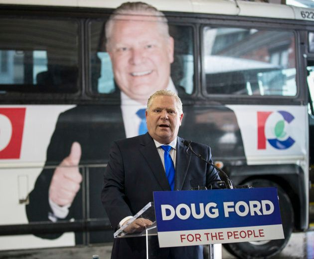 Ontario Progressive Conservative Leader Doug Ford unveiled the campaign bus and slogan at the Toronto Coach Terminal Arrival area on April 15, 2018.