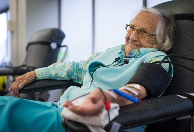 Beatrice Janyk, 95, donates blood at Canada Blood Services in Vancouver on April 18,