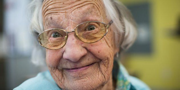 Beatrice Janyk, 95, smiles after donating blood at Canada Blood Services in Vancouver on April 18,