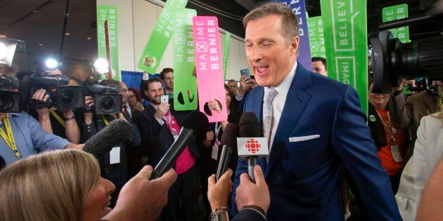 Maxime Bernier speaks to the media during the Conservative Party of Canada Leadership Event in Toronto,...