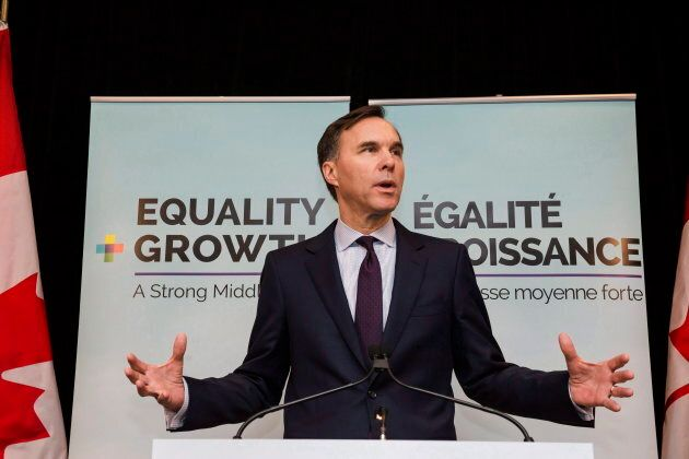 Finance minister Bill Morneau speaks to media following a breakfast event co-hosted by the Canadian Club...