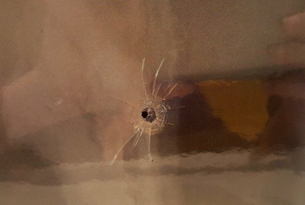 Evidence photo of a bullet hole found at the scene of a shooting at a Quebec City mosque released Thursday...