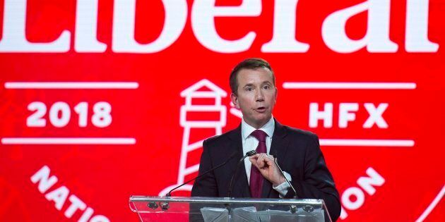 Treasury Board President Scott Brison addresses the crowd at the opening of the federal Liberal national...
