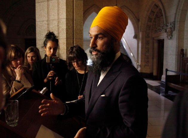 NDP leader Jagmeet Singh speaks to reporters on Parliament Hill in Ottawa on April 11,