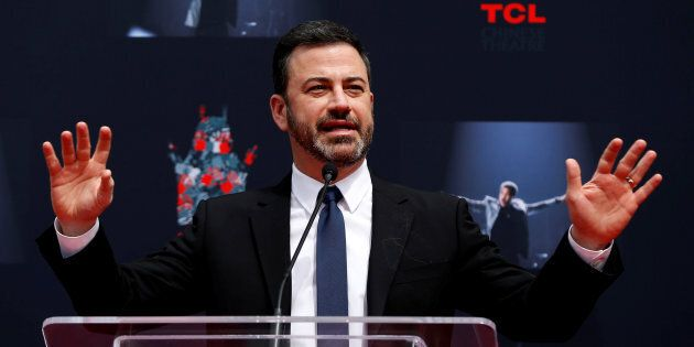 Television host Jimmy Kimmel speaks at a ceremony for recording artist Lionel Richie to place his handprints...