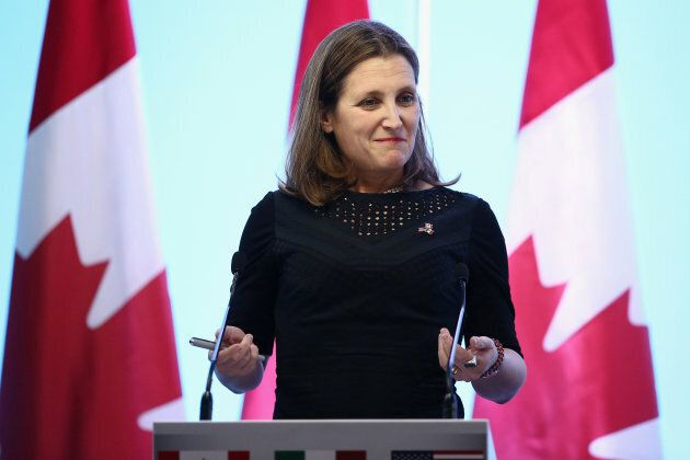 Canadian Foreign Minister Chrystia Freeland gestures during a joint news conference on the closing of...