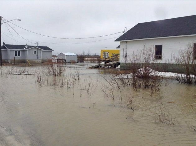 Flooding is seen in Kashechewan, a remote First Nations community in northern Ontario, in