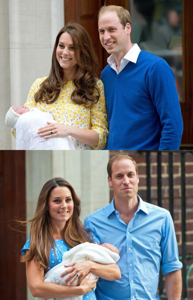 The duke and duchess emerging from the Lindo Wing with their newborns. Both times, Catherine wore a Jenny Packham dress.