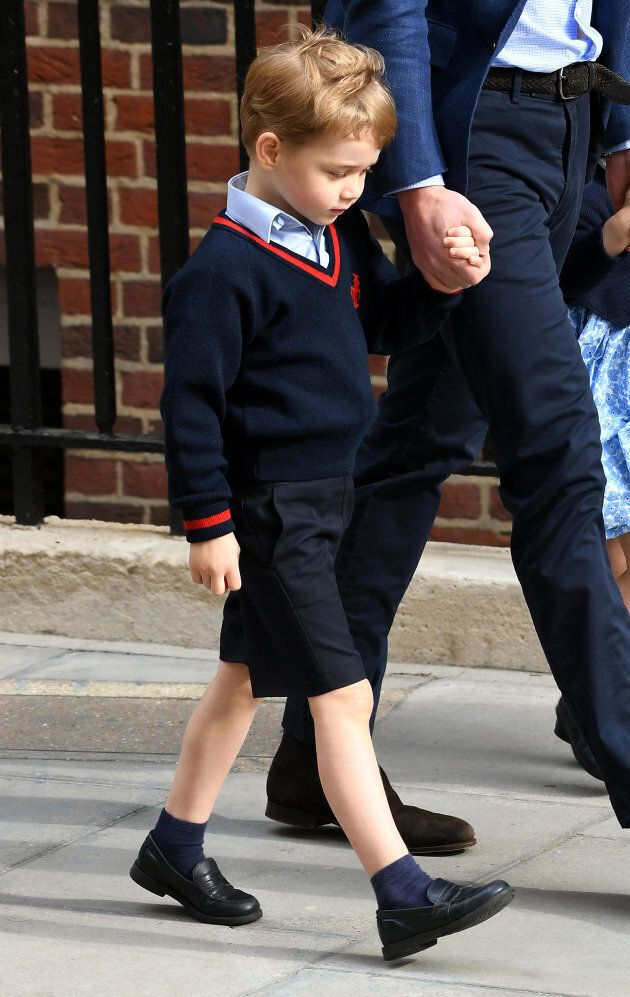 Prince George enters the Lindo Wing at St Mary's Hospital in Paddington,