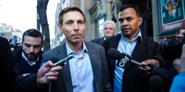 Patrick Brown speaks to media following a meeting at the Conservative Party headquarters in Toronto on...
