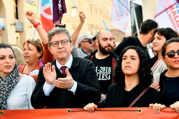 Jean-Luc Mélenchon et Manon Aubry, tête de liste La France Insoumise pour les élections