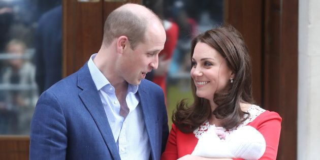 The Duke and Duchess of Cambridge depart the Lindo Wing with their newborn son at St Mary's Hospital...