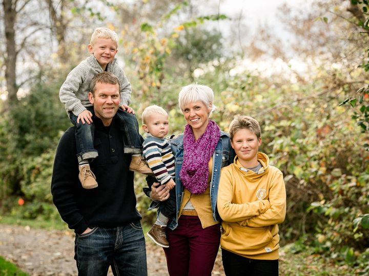 Michelle Matthieu with her husband Robin Higgins, and sons Liam (4), Henry (22 months), and Noah (11).