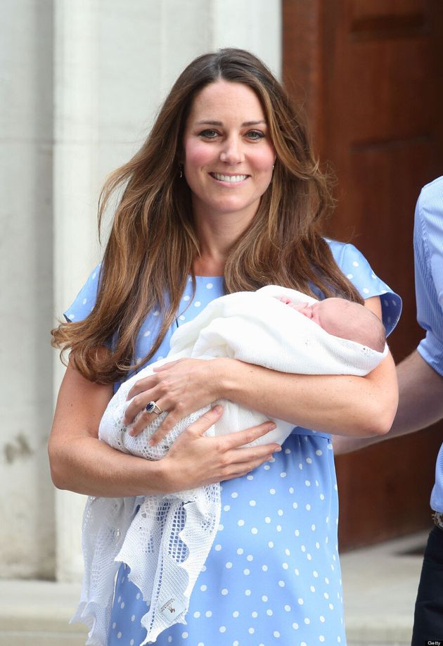Catherine, Duchess of Cambridge departs The Lindo Wing with Prince George at St Mary's Hospital on July...