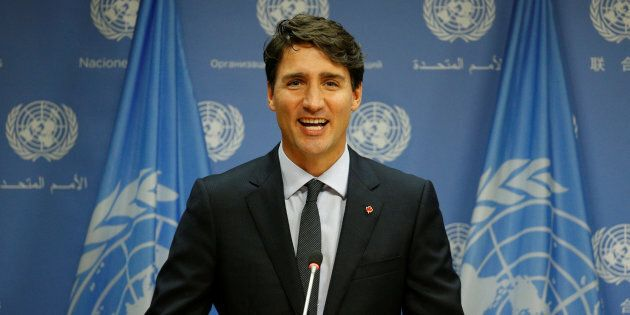 Prime Minister Justin Trudeau speaks during a news conference after addressing the 72nd United Nations...