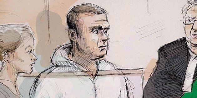 Duty counsel Georgia Koulis, left to right, Alek Minassian, Justice of the Peace Stephen Waisberg, and Crown prosecutor Joe Callaghan are shown in court in Toronto on Tuesday, April 24, 2018 in this courtroom sketch.