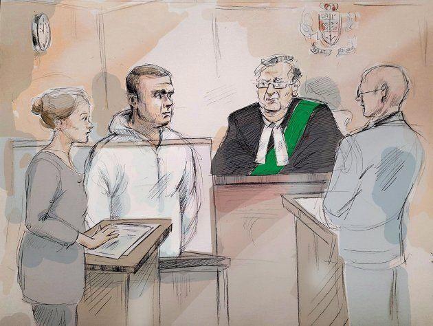 Duty counsel Georgia Koulis, Alek Minassian, Justice of the Peace Stephen Waisberg, and Crown prosecutor...