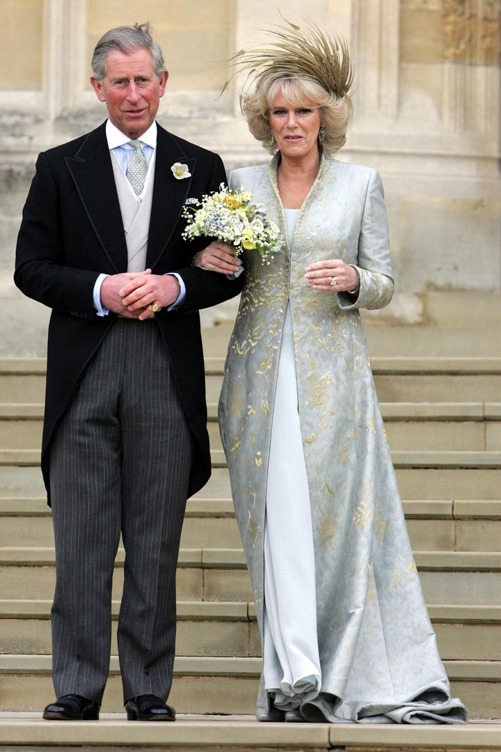 Prince Charles and Camilla, Camilla Duchess of Cornwall on the steps outside of St George's Chapel, April 9, 2005.