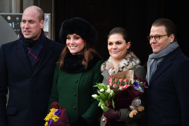 Prince William, the Duchess of Cambridge, Crown Princess Victoria, and Prince Daniel walk from the palace...