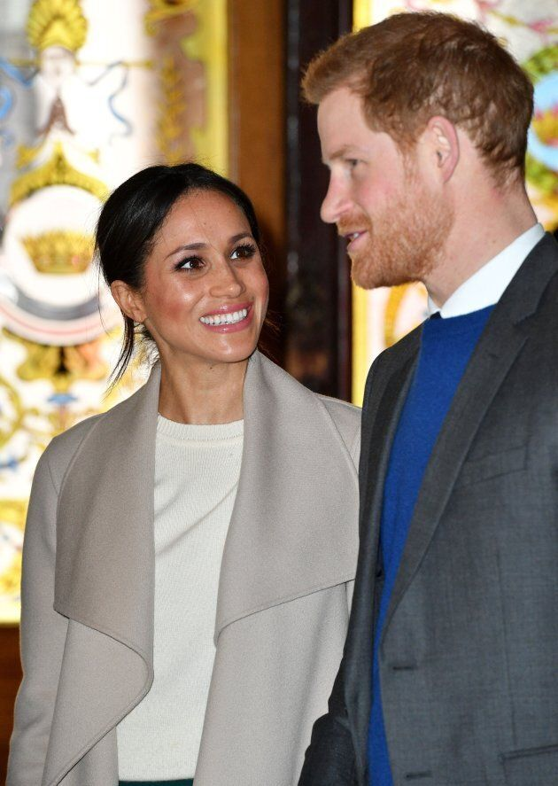 Prince Harry and Meghan Markle on March 23, 2018 in Belfast, Northern