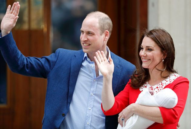Prince William and the Duchess of Cambridge depart the Lindo Wing of St Mary's Hospital with their newborn...