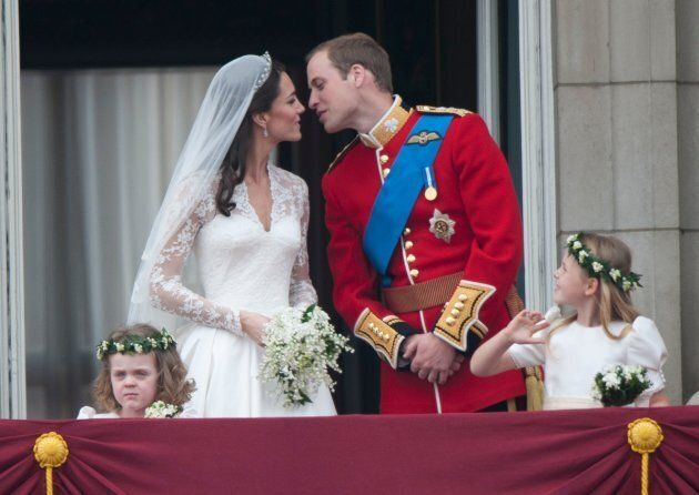 Catherine, Duchess of Cambridge and Prince William, Duke of Cambridge on the balcony at Buckingham Palace...