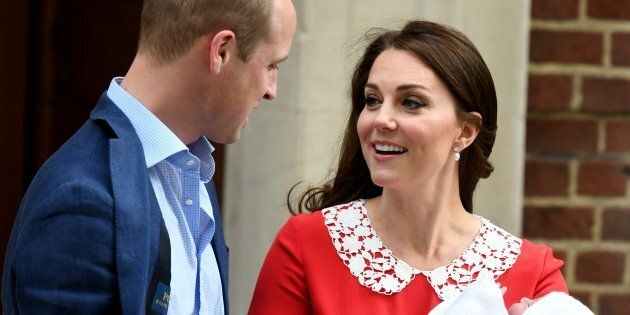 Prince William and Catherine, Duchess of Cambridge leave the Lindo Wing at St. Mary's Hospital with their...