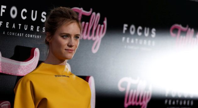 "Mackenzie Davis, who plays the night nanny, poses at the premiere for ""Tully"" in Los Angeles on April 18, 2018."