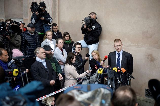 Prosecutor Jakob Buch-Jepsen gives a media briefing after the verdict in the case of Peter Madsen in...