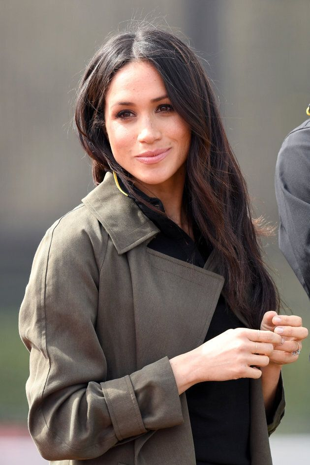 Meghan Markle attends the UK Team Trials for the Invictus Games Sydney 2018 alongside Prince Harry at the University of Bath Sports Training Village on April 6, 2018.
