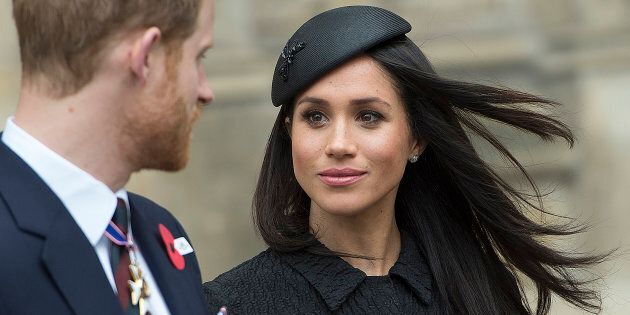 Prince Harry and Meghan Markle attend a service of commemoration and thanksgiving to mark Anzac Day today...