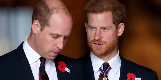 Prince William and Prince Harry attend an Anzac Day Service of Commemoration and Thanksgiving at Westminster...