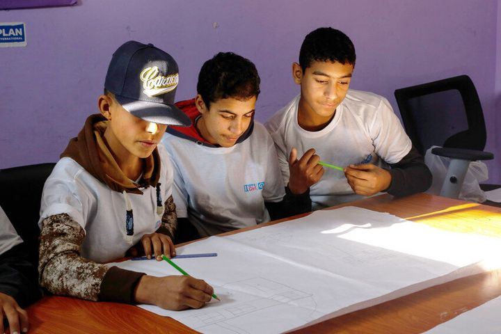 Boys take part in a the Safer Cities project where they learn to treat girls and women with respect.
