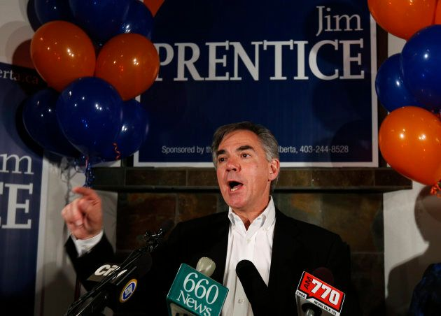 Then-Alberta Premier Jim Prentice addresses supporters after he was elected in the Calgary Foothills...