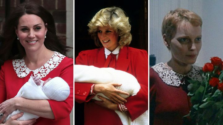 Kate Middleton presents Prince Louis in 2018. Princess Diana presents Prince Harry in 1984. Rosemary presents us with nightmares forever, circa 1968.