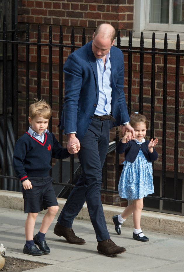 Prince William arrives with Prince George and Princess Charlotte at the Lindo Wing after Catherine gives