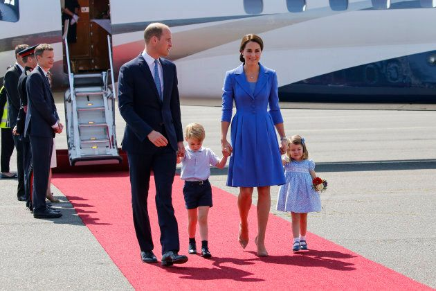 The duke and duchess with their children, Prince George and Princess Charlotte, during an official visit to Poland and Germany on July 19, 2017.
