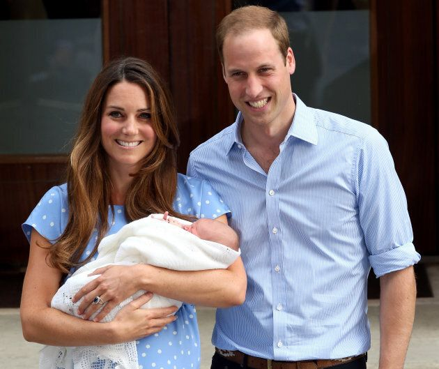 The duke and duchess depart St. Mary's Hospital with their newborn son, Prince George, on July 23, 2013.